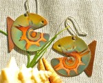 Oxidized Copper Round Fish Earrings - $20