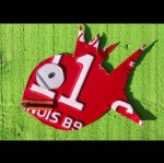 Red Funky Fish Recycled License Plate Artwork - $35