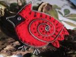 Red Felt and Zipper Cardinal - $28