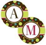 Brown and Polka Dot Alphabet Circles - $2.75