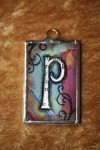 Soldered Glass Art Initial Pendant - $12