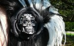 Hand Painted Black and White Skull Hair Clip Fascinator - $22