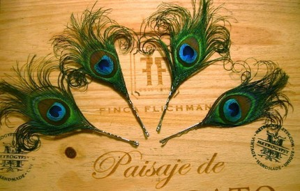 Peacock Princess Feather Fascinator Bobby Pins - $35