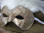 Silver Venetian Mask with Feathers - $89