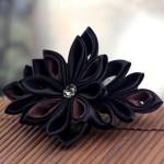 Black Coffee Kanzashi Flower Barrette - $33