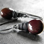 Burgundy Mookaite Jasper Earrings - $33