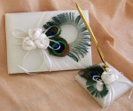 Peacock Feathers Wedding Guest Book with Pen and Base - $50