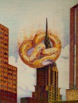 I Love NY Giant Hot Pretzel and Chrysler Building Art Print - $15