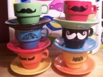 Stacking Mustache Mugs and Saucers - $32.50