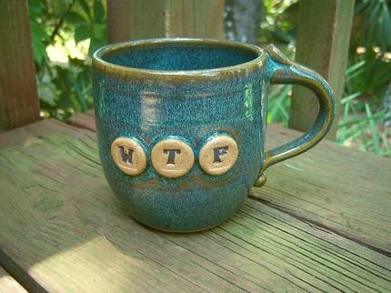 WTF Sea Mist Mug - $22