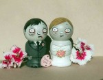 Zombie Couple Kokeshi Doll Cake Toppers - $40