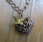 Copper Filigree Heart Necklace - $10
