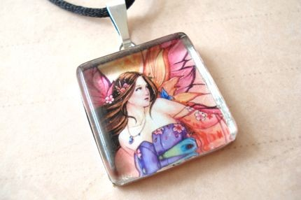 Sunset Kimono Fairy Art Pendant - $15