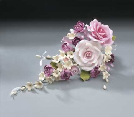 2 Gum Paste Rose Bouquets - $55.97