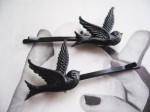 Vintage Black Bird Bobby Pins - $6