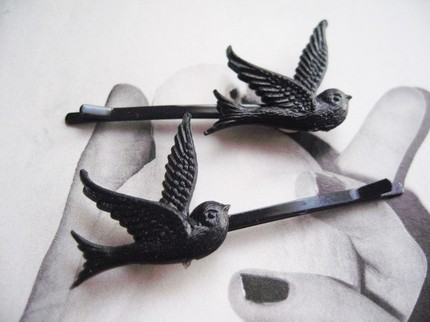 Vintage Black Bird Bobby Pins - $6