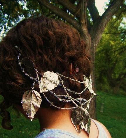 Silver Leaf Bridal Headpiece - $105