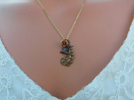 Sparrow and Feather Necklace - $22