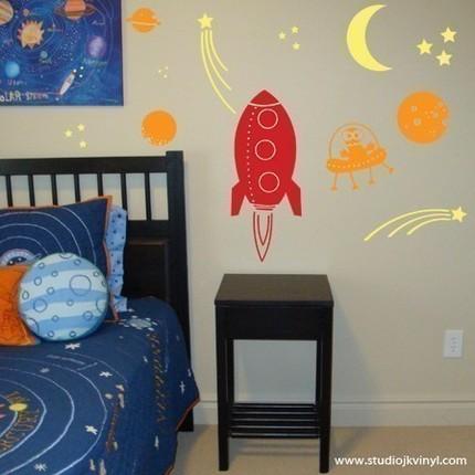 Rocket Into Outer Space Vinyl Wall Decal - $33 (South Jordan, Utah)