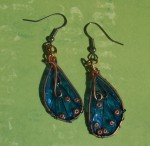 Brassy Blue Faerie Wing Earrings - $14