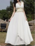 Custom V-Neck Wedding Gown - $189