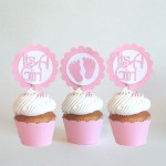 Baby Shower Girl Pink Cupcake Toppers - $7