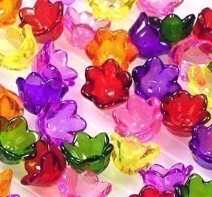 25 Small Garden Mix Clear Lucite Bell Flower Beads - $1.59