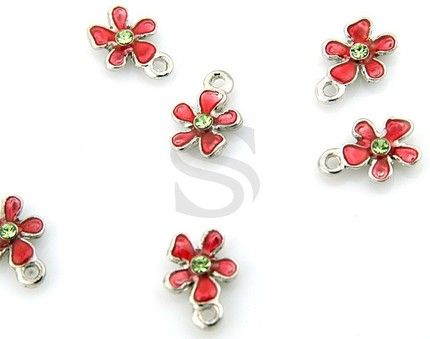 6 Red Epoxy and Swarovski Flower Charms - $3