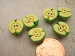 6 Green Half Apple Ceramic Fruit Beads - $6.25